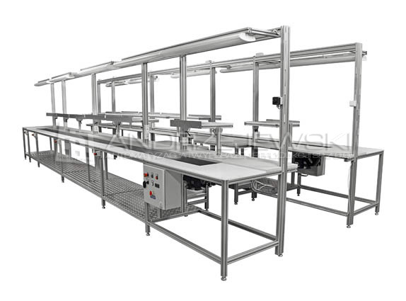 Assembly line with belt conveyors