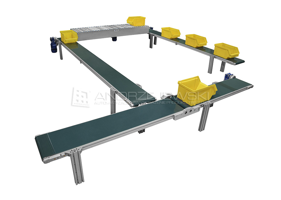 III. Assembly line with belt and roller conveyors