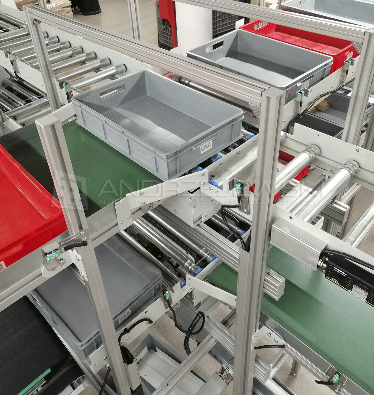 Conveyor system for internal transport of products between machines