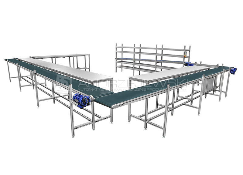 IV. Assembly line with belt and roller conveyors
