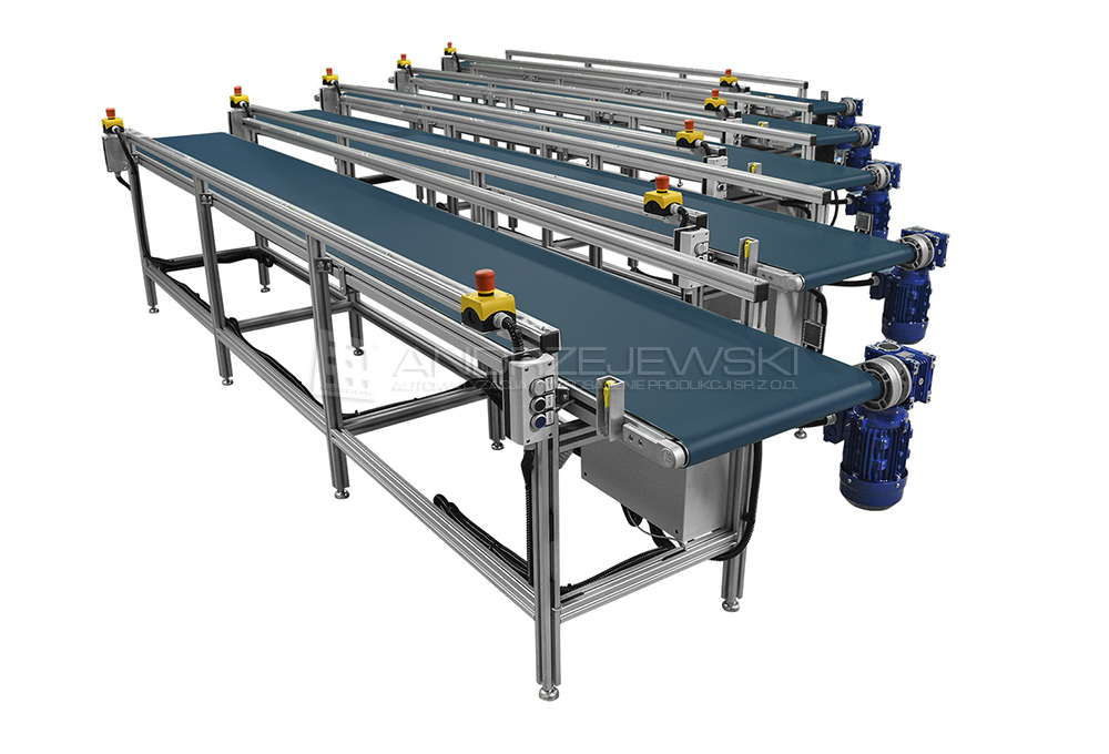 Set of belt conveyors with bands