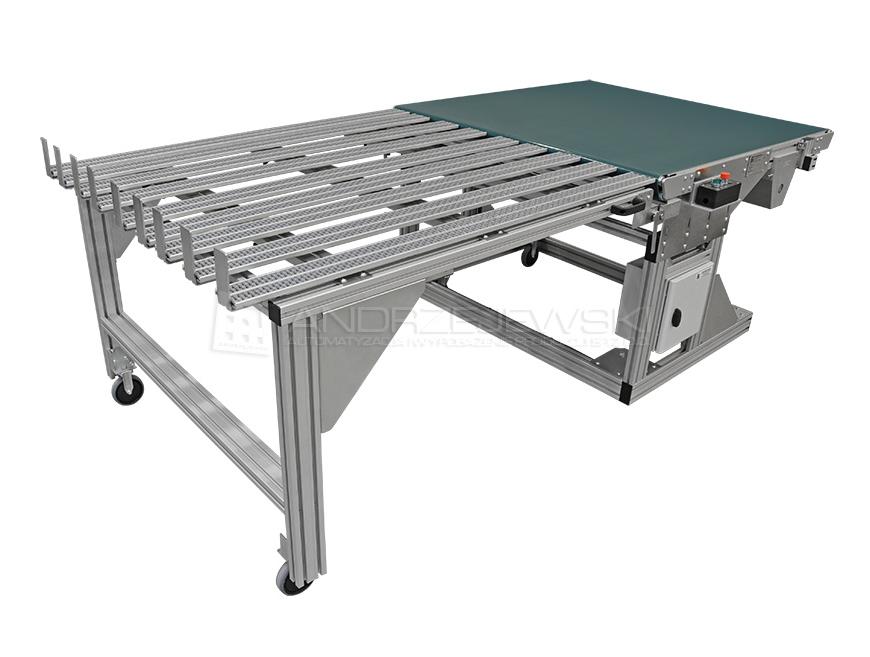 Belt conveyor with roller rails