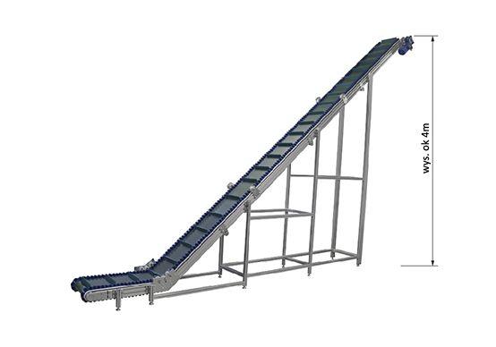 Z-type belt conveyor with waved edge belt